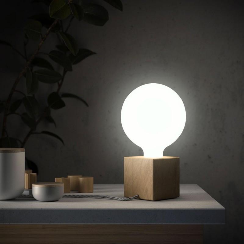 Tavolo Design Legno Naturale.Posaluce Cubetto La Lampada Da Tavolo In Legno Naturale Con Cavo